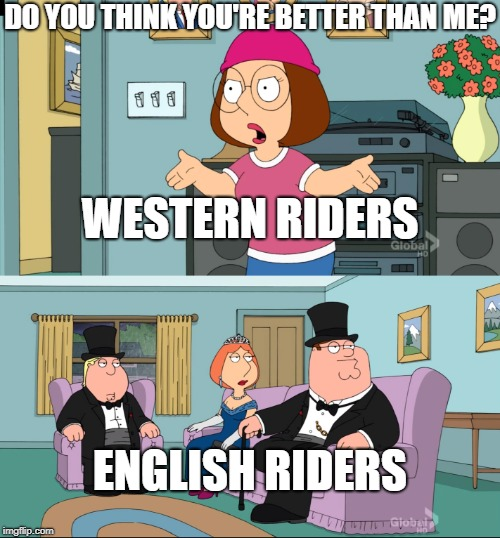 They actually dress this way |  DO YOU THINK YOU'RE BETTER THAN ME? WESTERN RIDERS; ENGLISH RIDERS | image tagged in meg family guy better than me,english,memes,horse,funny,western | made w/ Imgflip meme maker