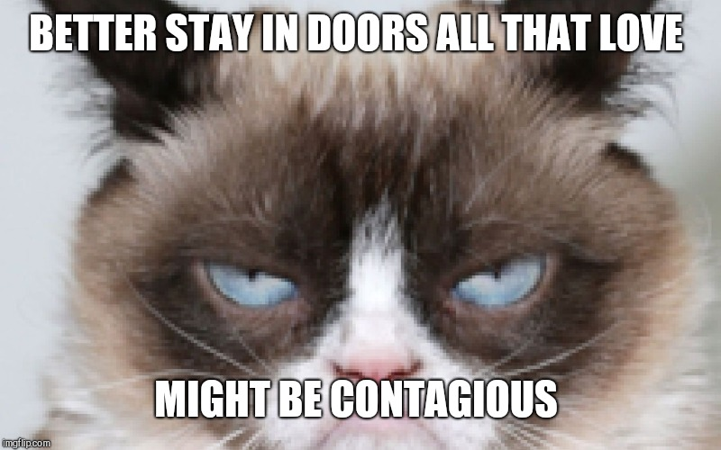 BETTER STAY IN DOORS ALL THAT LOVE MIGHT BE CONTAGIOUS | made w/ Imgflip meme maker