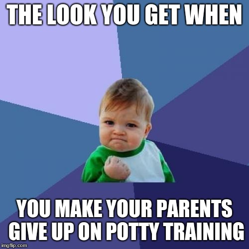 Success Kid | THE LOOK YOU GET WHEN YOU MAKE YOUR PARENTS GIVE UP ON POTTY TRAINING | image tagged in memes,success kid | made w/ Imgflip meme maker