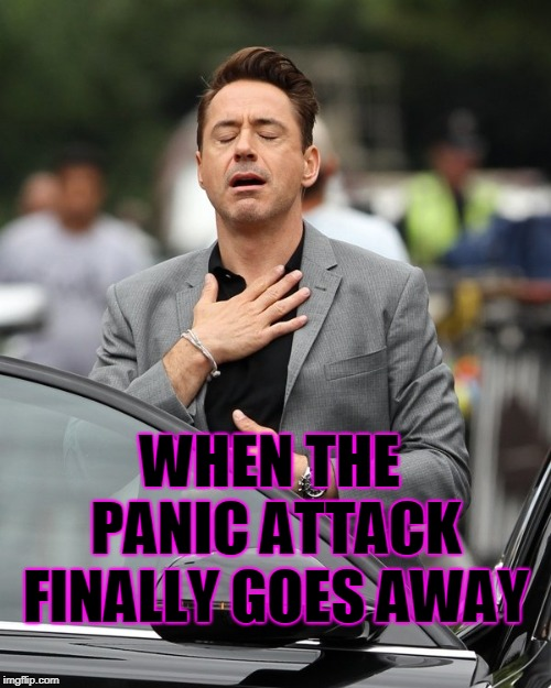 It's been one of those days.  | WHEN THE PANIC ATTACK FINALLY GOES AWAY | image tagged in relief,nixieknox,memes | made w/ Imgflip meme maker