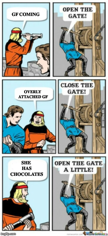 Open the gate a little | GF COMING OVERLY ATTACHED GF SHE HAS CHOCOLATES | image tagged in open the gate a little | made w/ Imgflip meme maker