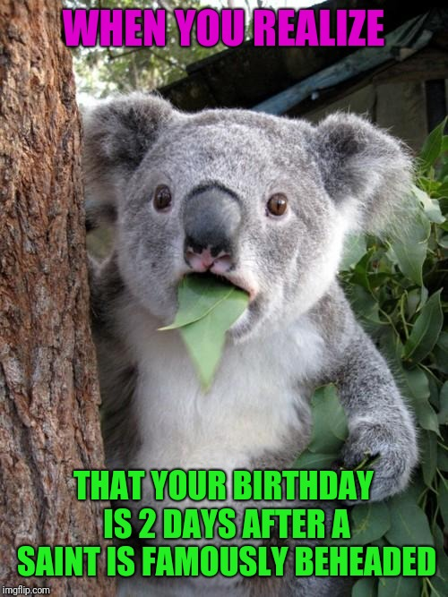 Tommorow is My Birthday! | WHEN YOU REALIZE THAT YOUR BIRTHDAY IS 2 DAYS AFTER A SAINT IS FAMOUSLY BEHEADED | image tagged in memes,surprised koala,happy birthday,birthday,valentine's day | made w/ Imgflip meme maker