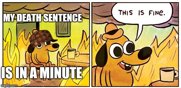 This is fine dog | MY DEATH SENTENCE IS IN A MINUTE | image tagged in this is fine dog | made w/ Imgflip meme maker