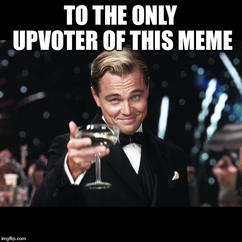 Leonardo DiCaprio Toast | TO THE ONLY UPVOTER OF THIS MEME | image tagged in leonardo dicaprio toast | made w/ Imgflip meme maker