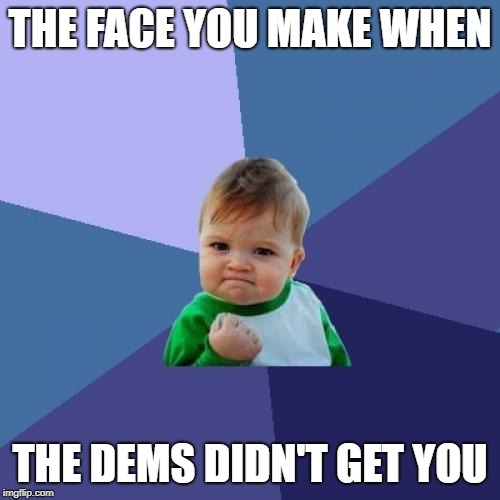Success Kid | THE FACE YOU MAKE WHEN THE DEMS DIDN'T GET YOU | image tagged in memes,success kid,abortion | made w/ Imgflip meme maker