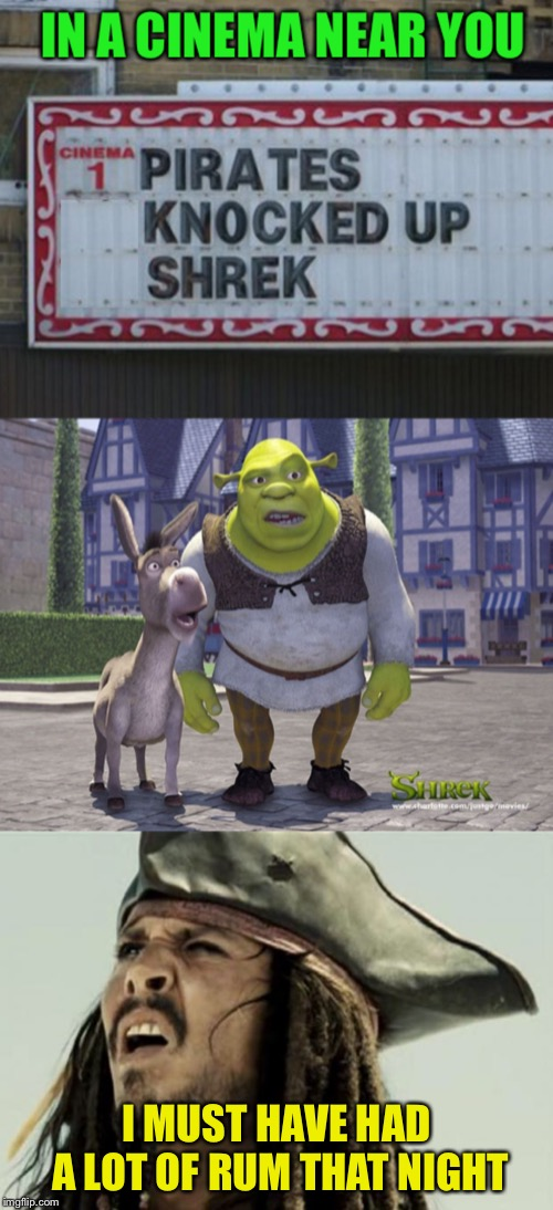 Jack doesn't remember. Shrek just wants to forget.  | I MUST HAVE HAD A LOT OF RUM THAT NIGHT | image tagged in memes,cinema,captain jack sparrow,shrek,ogre,baby | made w/ Imgflip meme maker
