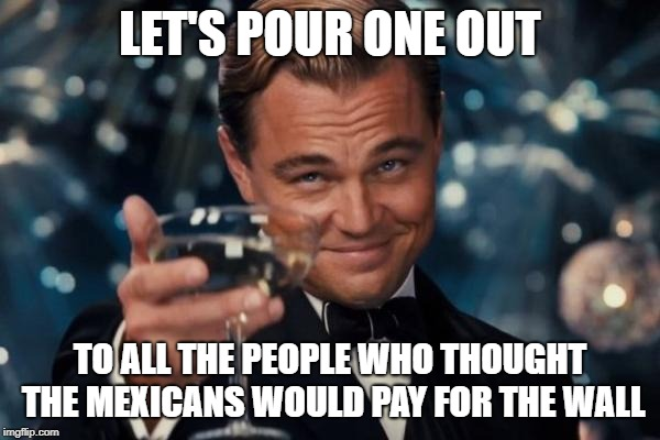Leonardo Dicaprio Cheers | LET'S POUR ONE OUT TO ALL THE PEOPLE WHO THOUGHT THE MEXICANS WOULD PAY FOR THE WALL | image tagged in memes,leonardo dicaprio cheers | made w/ Imgflip meme maker