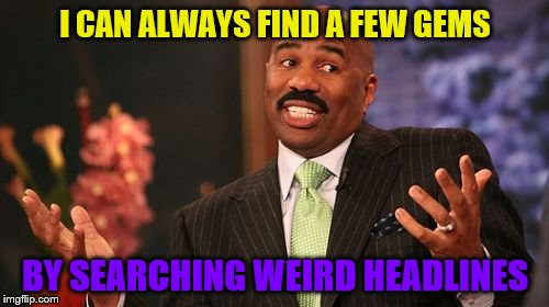 Steve Harvey Meme | I CAN ALWAYS FIND A FEW GEMS BY SEARCHING WEIRD HEADLINES | image tagged in memes,steve harvey | made w/ Imgflip meme maker