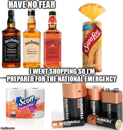 Prepared For The National Emergency  |  HAVE NO FEAR; I WENT SHOPPING SO I'M PREPARED FOR THE NATIONAL EMERGENCY | image tagged in nationalemergency,mega,trump,25thamendment | made w/ Imgflip meme maker