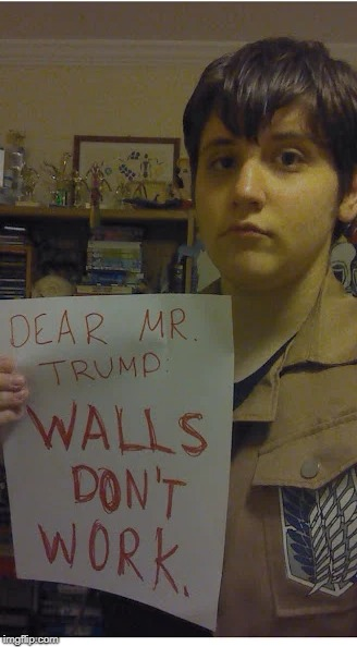 Dear Mr. Trump...Walls don't work. | image tagged in trump,attack on titan,anime,lol,aot | made w/ Imgflip meme maker