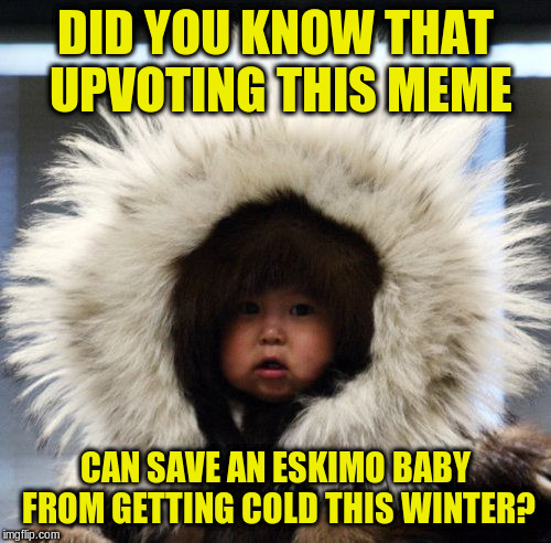 Global upvote campaign | DID YOU KNOW THAT UPVOTING THIS MEME CAN SAVE AN ESKIMO BABY FROM GETTING COLD THIS WINTER? | image tagged in memes,upvotes,eskimo,baby | made w/ Imgflip meme maker