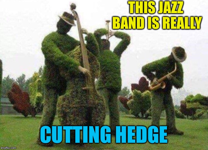 Better than Blugrass | THIS JAZZ BAND IS REALLY CUTTING HEDGE | image tagged in landscape,people,jazz,band,music,memes | made w/ Imgflip meme maker