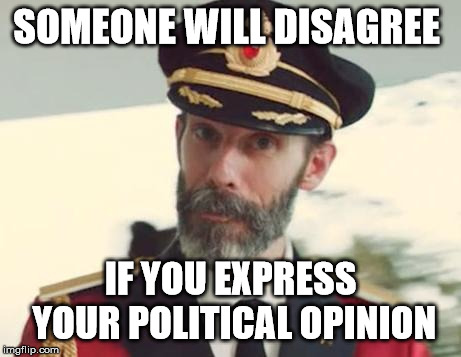 Captain Obvious | SOMEONE WILL DISAGREE IF YOU EXPRESS YOUR POLITICAL OPINION | image tagged in captain obvious | made w/ Imgflip meme maker