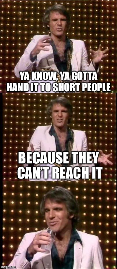 steve martin bad joke | YA KNOW, YA GOTTA HAND IT TO SHORT PEOPLE BECAUSE THEY CAN'T REACH IT | image tagged in steve martin bad joke | made w/ Imgflip meme maker