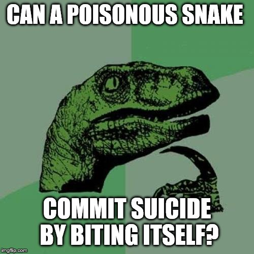 Philosoraptor Meme |  CAN A POISONOUS SNAKE; COMMIT SUICIDE BY BITING ITSELF? | image tagged in memes,philosoraptor | made w/ Imgflip meme maker