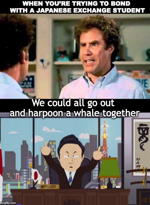 WHEN YOU'RE TRYING TO BOND WITH A JAPANESE EXCHANGE STUDENT We could all go out and harpoon a whale together | image tagged in did we just become best friends mustang,south park,whales | made w/ Imgflip meme maker