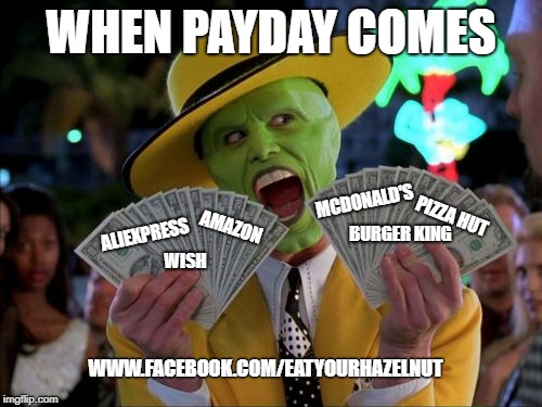 Money Money |  WHEN PAYDAY COMES; MCDONALD'S; PIZZA HUT; ALIEXPRESS; AMAZON; BURGER KING; WISH; WWW.FACEBOOK.COM/EATYOURHAZELNUT | image tagged in memes,money money | made w/ Imgflip meme maker