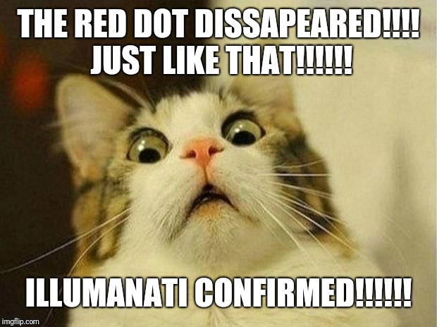 Scared Cat Meme | THE RED DOT DISSAPEARED!!!! JUST LIKE THAT!!!!!! ILLUMANATI CONFIRMED!!!!!! | image tagged in memes,scared cat | made w/ Imgflip meme maker