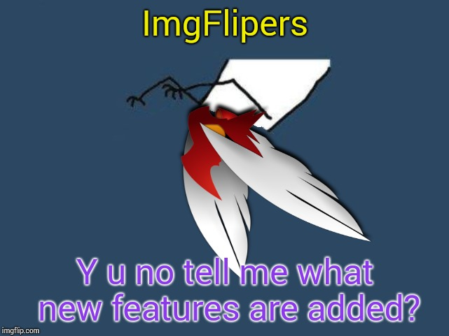 Y u no Blaze the Blaziken |  ImgFlipers; Y u no tell me what new features are added? | image tagged in y u no blaze the blaziken | made w/ Imgflip meme maker