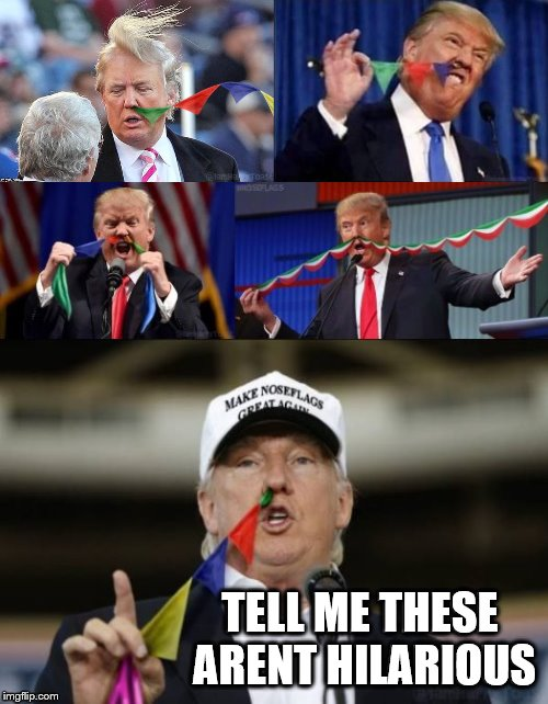 Trump Nose Flags! Funny no matter what side ur on! | TELL ME THESE ARENT HILARIOUS | image tagged in trump,nose,flags,magic,claybourne,funny | made w/ Imgflip meme maker