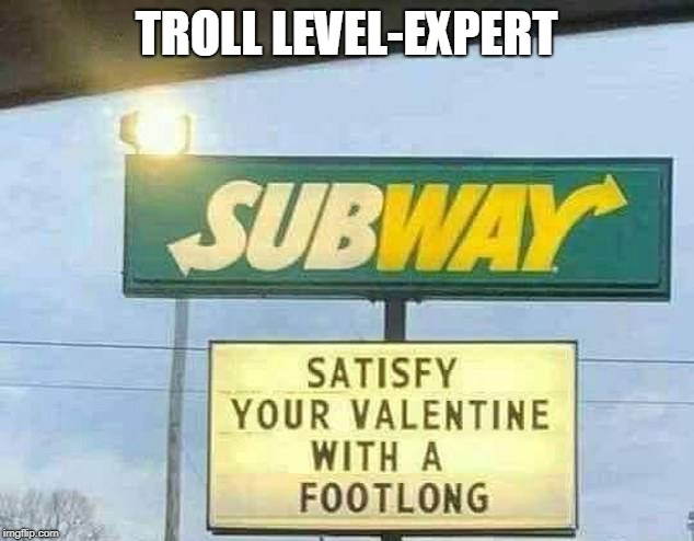 TROLL LEVEL-EXPERT | image tagged in footlong,trolling | made w/ Imgflip meme maker