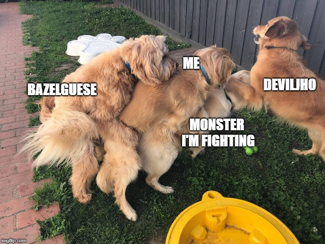 Monster hunter in a nutshell | ME BAZELGUESE MONSTER I'M FIGHTING DEVILJHO | image tagged in monster hunter,dogs,funny dogs,funny | made w/ Imgflip meme maker