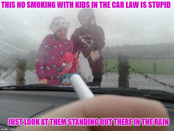 Secondhand Smoke Vs. Firsthand Rain |  THIS NO SMOKING WITH KIDS IN THE CAR LAW IS STUPID; JUST LOOK AT THEM STANDING OUT THERE IN THE RAIN | image tagged in no smoking | made w/ Imgflip meme maker