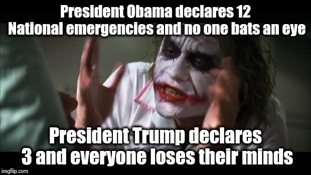 Building a wall will not kill puppies and kittens | President Obama declares 12 National emergencies and no one bats an eye President Trump declares 3 and everyone loses their minds | image tagged in memes,and everybody loses their minds,hypocritical,never trump,show me on this doll,the wall | made w/ Imgflip meme maker