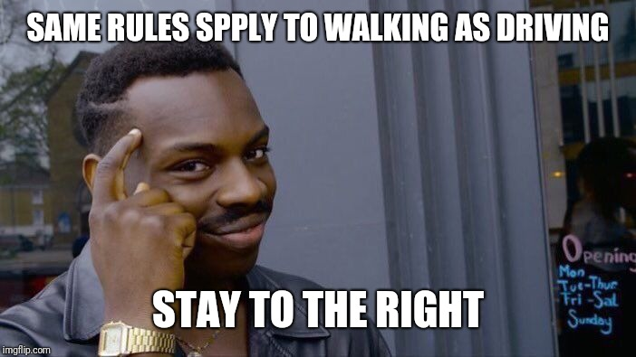 Roll Safe Think About It Meme | SAME RULES SPPLY TO WALKING AS DRIVING STAY TO THE RIGHT | image tagged in memes,roll safe think about it | made w/ Imgflip meme maker