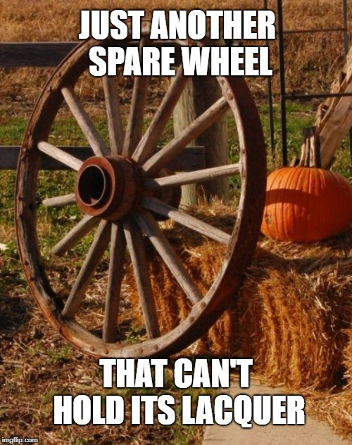 Spare Wheel Goes Hard | JUST ANOTHER SPARE WHEEL THAT CAN'T HOLD ITS LACQUER | image tagged in spare wheel,third wheel,liquor | made w/ Imgflip meme maker