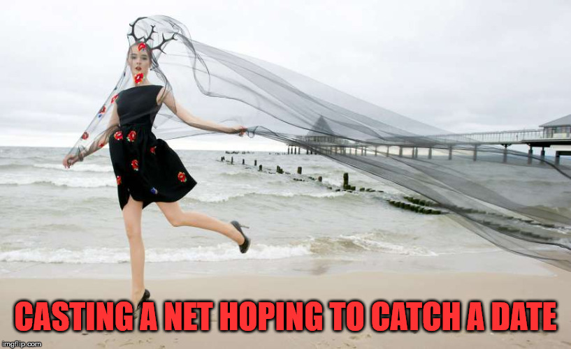 Maybe a beach is not a good place to do this. |  CASTING A NET HOPING TO CATCH A DATE | image tagged in meme,net,dating,relationships,humor,catch me outside | made w/ Imgflip meme maker