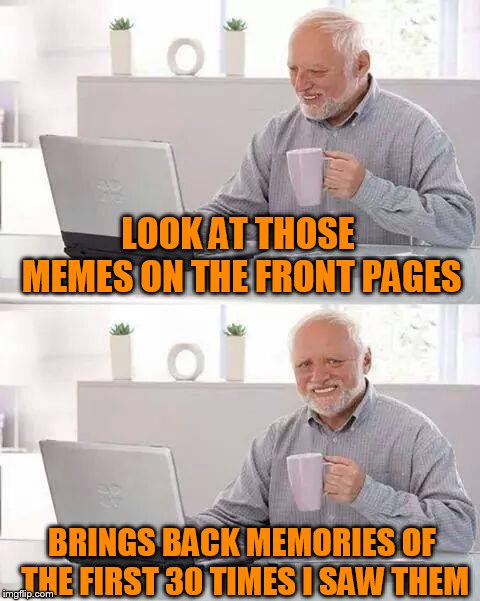 Hide the Pain Harold Meme | LOOK AT THOSE MEMES ON THE FRONT PAGES BRINGS BACK MEMORIES OF THE FIRST 30 TIMES I SAW THEM | image tagged in memes,hide the pain harold | made w/ Imgflip meme maker