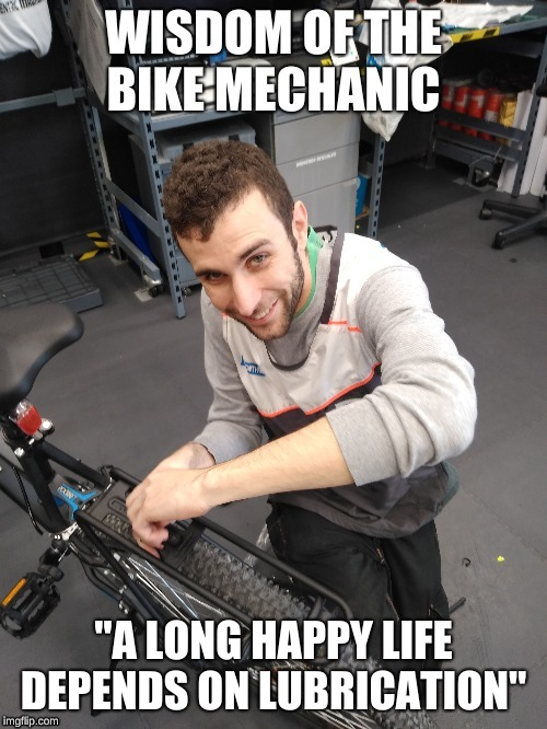"Bike Mechanic |  ""A LONG HAPPY LIFE DEPENDS ON LUBRICATION"" 