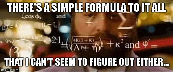 Zach Galifianakis | THERE'S A SIMPLE FORMULA TO IT ALL THAT I CAN'T SEEM TO FIGURE OUT EITHER... | image tagged in zach galifianakis | made w/ Imgflip meme maker