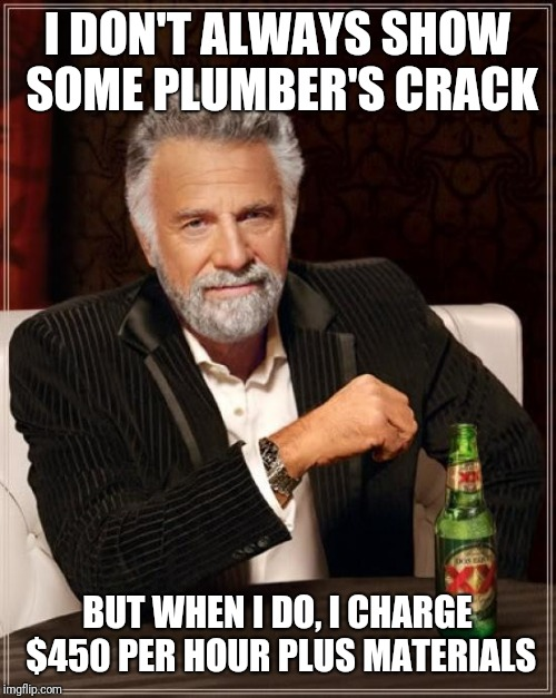 The Most Interesting Man In The World | I DON'T ALWAYS SHOW SOME PLUMBER'S CRACK BUT WHEN I DO, I CHARGE $450 PER HOUR PLUS MATERIALS | image tagged in memes,the most interesting man in the world | made w/ Imgflip meme maker