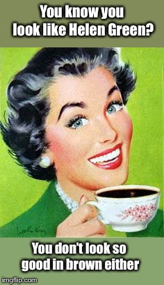 Vintage Woman Drinking Coffee | You know you look like Helen Green? You don't look so good in brown either | image tagged in vintage woman drinking coffee | made w/ Imgflip meme maker
