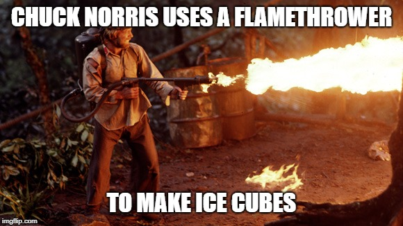 Chuck Norris uses a flamethrower | CHUCK NORRIS USES A FLAMETHROWER TO MAKE ICE CUBES | image tagged in chuck norris,memes,flamethrower | made w/ Imgflip meme maker