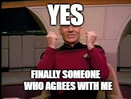 Picard yessssss | YES FINALLY SOMEONE   WHO AGREES WITH ME | image tagged in picard yessssss | made w/ Imgflip meme maker