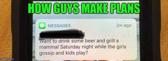 How guys make plans | HOW GUYS MAKE PLANS | image tagged in grill,men,weekend,beer | made w/ Imgflip meme maker