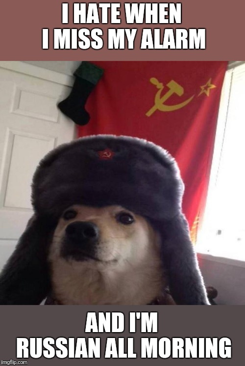 Russian Doge | I HATE WHEN I MISS MY ALARM AND I'M RUSSIAN ALL MORNING | image tagged in russian doge | made w/ Imgflip meme maker
