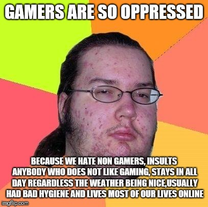 Why gamers are really oppressed by society | GAMERS ARE SO OPPRESSED BECAUSE WE HATE NON GAMERS, INSULTS ANYBODY WHO DOES NOT LIKE GAMING, STAYS IN ALL DAY REGARDLESS THE WEATHER BEING  | image tagged in neckbeard libertarian,memes,gamers are oppressed,gamers,gamer | made w/ Imgflip meme maker