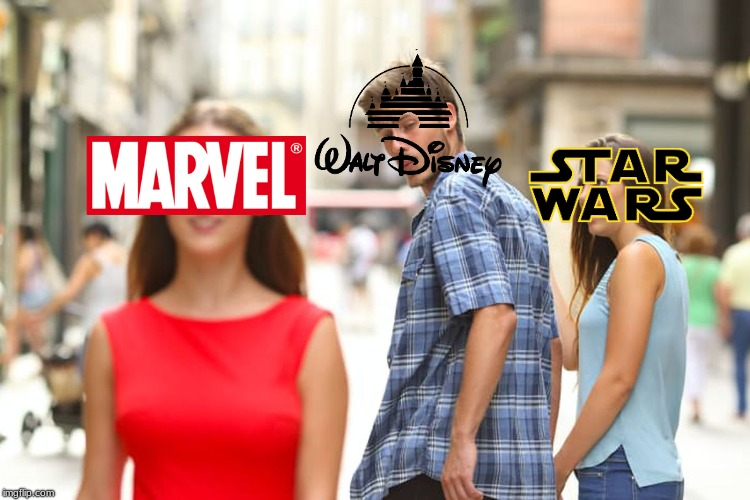 Makes sense. | image tagged in memes,distracted boyfriend,walt disney,waltdisney,star wars,marvel | made w/ Imgflip meme maker