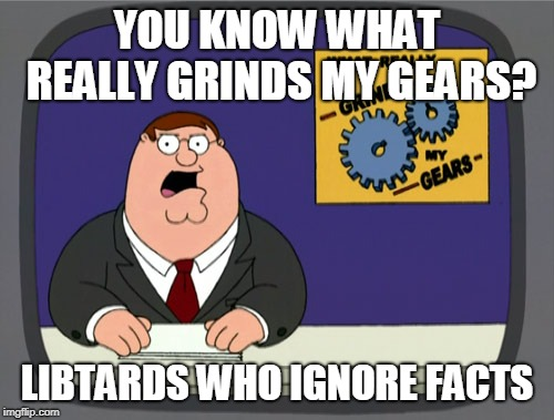 This probably grinds Ben Shapiro's gears. | YOU KNOW WHAT REALLY GRINDS MY GEARS? LIBTARDS WHO IGNORE FACTS | image tagged in memes,peter griffin news | made w/ Imgflip meme maker