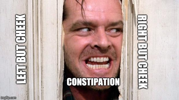 The Shining | LEFT BUT CHEEK RIGHT BUT CHEEK CONSTIPATION | image tagged in the shining | made w/ Imgflip meme maker
