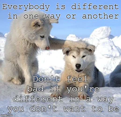 We're all different | Everybody is different in one way or another Don't feel bad if you're different in a way you don't want to be | image tagged in it's ok,inspiring,inspirational quote,inspire the people,different,personality disorders | made w/ Imgflip meme maker
