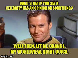WHAT'S THAT? YOU SAY A CELEBRITY HAS AN OPINION ON SOMETHING? WELL THEN, LET ME CHANGE MY WORLDVIEW, RIGHT QUICK. | image tagged in captain kirk | made w/ Imgflip meme maker