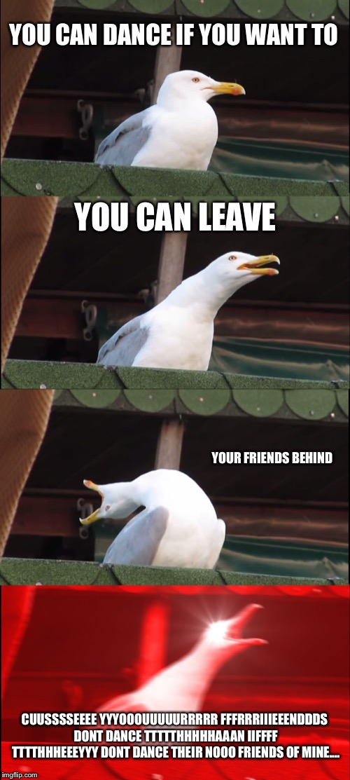 Inhaling Seagull |  YOU CAN DANCE IF YOU WANT TO; YOU CAN LEAVE; YOUR FRIENDS BEHIND; CUUSSSSEEEE YYYOOOUUUUURRRRR FFFRRRIIIEEENDDDS DONT DANCE TTTTTHHHHHAAAN IIFFFF TTTTHHHEEEYYY DONT DANCE THEIR NOOO FRIENDS OF MINE.... | image tagged in memes,inhaling seagull | made w/ Imgflip meme maker