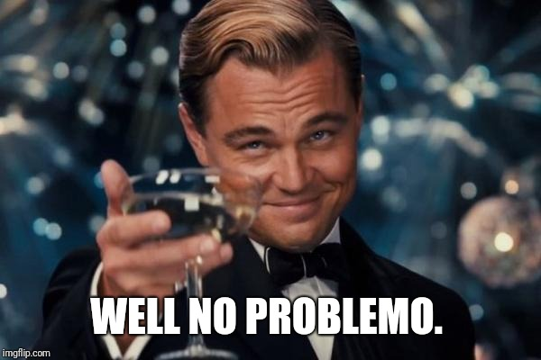 Leonardo Dicaprio Cheers Meme | WELL NO PROBLEMO. | image tagged in memes,leonardo dicaprio cheers | made w/ Imgflip meme maker