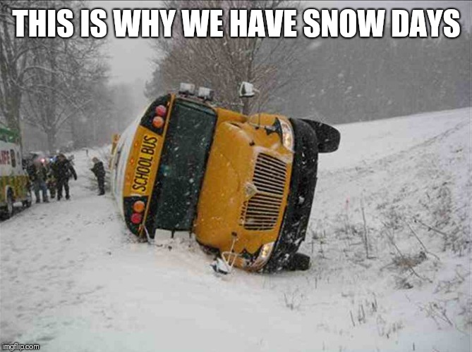THIS IS WHY WE HAVE SNOW DAYS | image tagged in snow day,snow,bus,school bus | made w/ Imgflip meme maker