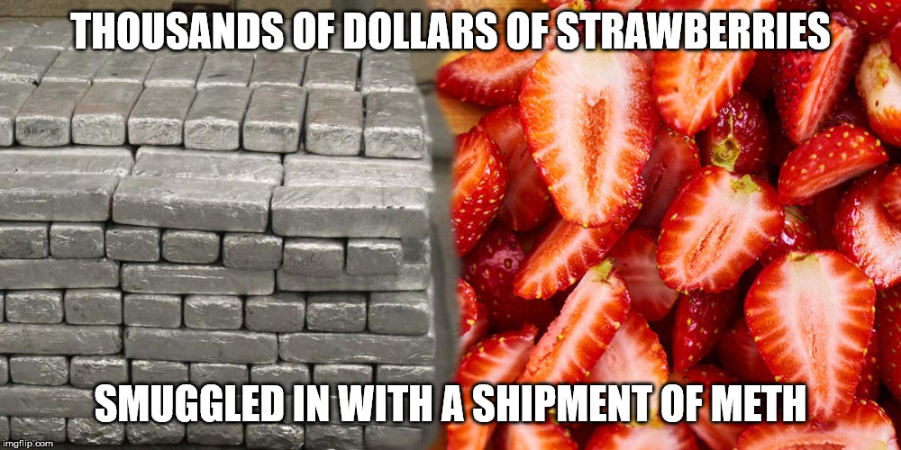 meth | THOUSANDS OF DOLLARS OF STRAWBERRIES SMUGGLED IN WITH A SHIPMENT OF METH | image tagged in drugs,meth,funny | made w/ Imgflip meme maker